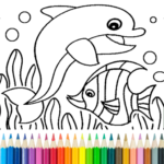 Dolphin and fish coloring book APK (MOD, Unlimited Money) 15.9.6